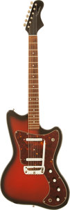 Musical Instruments:Electric Guitars, 1960's Silvertone 1457 Redburst Solid Body Electric Guitar....