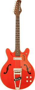 Musical Instruments:Electric Guitars, 1968 Coral Firefly Red Semi-Hollow Body Electric Guitar....