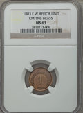 French West Africa, French West Africa: French Colony brass Unit 1883 MS63 NGC,...