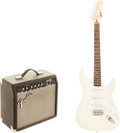 Musical Instruments:Electric Guitars, 2000's Fender Squire Stratocaster White Solid Body Electric Guitarand Amplifier, Serial # CS13021807.... (Total: 2 )