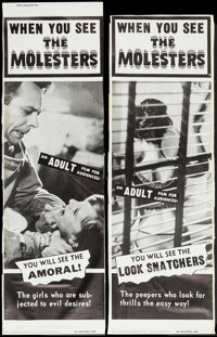 "The Molesters (Aristocrat Films, 1964). Trimmed Door Panel Set of 4 (approx. 19.25"" X 57.5""). Exploitation..."