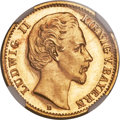 German States:Bavaria, German States: Bavaria. Ludwig II gold Proof 10 Mark 1875-D PR66Cameo NGC,...