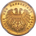 German States:Lubeck, German States: Lubeck. Free City gold Proof 10 Mark 1901-A PR66Ultra Cameo NGC,...