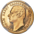 German States:Saxe-Weimar-Eisenach, German States: Saxe-Weimar-Eisenach. Wilhelm Ernst gold Proof 20Mark 1901-A PR66 Ultra Cameo NGC,...