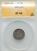 Bust Dimes, 1836 10C XF40 ANACS. NGC Census: (7/184). PCGS Population (27/219).Mintage: 1,190,000. Numismedia Wsl. Price for problem f...