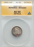 Bust Dimes, 1820 10C Large 0 -- Repaired, Whizzed -- ANACS. AU50 Details. NGCCensus: (7/186). PCGS Population (9/108). Mintage: 942,58...