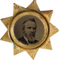 Political:Ferrotypes / Photo Badges (pre-1896), Rutherford B. Hayes: Ferrotype in Sunburst Frame....