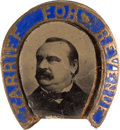 Political:Ferrotypes / Photo Badges (pre-1896), Grover Cleveland: Ferrotype Enamel Stud....