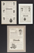 Baseball Collectibles:Others, Early 1900s Ty Cobb and Christy Mathewson Tuxedo Tobacco Ads, Etc.Lot of 3. ...