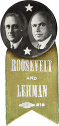 """Political:Pinback Buttons (1896-present), Roosevelt & Lehman: A Rare Real-Photo 1¾"""" Button for the 1928Democratic Ticket for New York Governor and Lieutenant Governor...."""