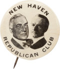 "Political:Pinback Buttons (1896-present), Harding & Coolidge: The Key ""New Haven Republican Club"" 1¼""Jugate...."