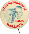 """Political:Pinback Buttons (1896-present), Henry A. Wallace and Grant Oakes: Rare 1¼"""" Litho Coat-tail Jugatefor the 1948 Progressive Presidential Candidate...."""