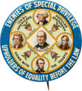 "Political:Pinback Buttons (1896-present), William Jennings Bryan: The Classic Multi-color ""Enemies of SpecialPrivilege"" Design in 1¾"" Size...."