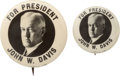 "Political:Pinback Buttons (1896-present), John W. Davis: Distinctive 1924 Button Design in Both 7/8"" and 1¼""Sizes.... (Total: 2 Items)"