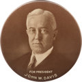 "Political:Pinback Buttons (1896-present), John W. Davis: A Dramatic 4"" Celluloid for the 1924 DemocraticCandidate...."