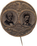 "Political:Ferrotypes / Photo Badges (pre-1896), Seymour & Blair: A ""Porthole"" Ferrotype Jugate for the 1868Democratic Candidates...."