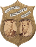 Political:Ferrotypes / Photo Badges (pre-1896), Hancock & English: Simply the Best Obtainable Jugate Pin forthis Tough Ticket....