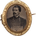 Political:Ferrotypes / Photo Badges (pre-1896), George B. McClellan: A Choice Diminutive Ferrotype Brooch....