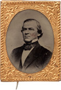 Political:Ferrotypes / Photo Badges (pre-1896), Andrew Johnson: A Rare Ferrotype Pin for this 17th President....