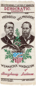 Political:Ribbons & Badges, Hancock & English: A Colorful Woven Jugate Ribbon for the 1880 Democratic Ticket....