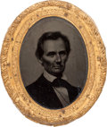 Political:Ferrotypes / Photo Badges (pre-1896), Abraham Lincoln: An Iconic George Clark Ambrotype Brooch....