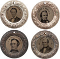 """Political:Ferrotypes / Photo Badges (pre-1896), Abraham Lincoln, Stephen A. Douglas, John C. Breckinridge, and JohnBell: A Spectacular Matched Set of Four """"Doughnut"""" Ferroty..."""