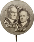 "Political:Pinback Buttons (1896-present), Harding & Coolidge: Key 7/8"" Jugate from the 1920 Campaign...."