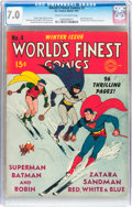 Golden Age (1938-1955):Superhero, World's Finest Comics #4 (DC, 1941) CGC FN/VF 7.0 Cream to off-white pages....
