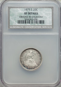 1875-S 20C -- Obverse Reengraved -- NCS. XF Details. NGC Census: (116/2259). PCGS Population (225/2691). Mintage: 1,155...