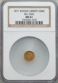 California Fractional Gold: , 1871 50C Liberty Round 50 Cents, BG-1026, Low R.4, MS61 NGC. NGCCensus: (4/9). PCGS Population (11/31). ...