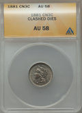 Three Cent Nickels, 1881 3CN -- Clashed Dies -- AU58 ANACS. NGC Census: (76/435). PCGS Population (104/531). Mintage: 1,080,575. Numismedia Wsl...