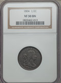 1804 1/2 C Plain 4, No Stems VF30 NGC. NGC Census: (36/567). PCGS Population (70/675). Mintage: 1,055,312. Numismedia Ws...