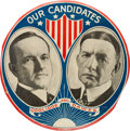 "Political:Pinback Buttons (1896-present), Coolidge & Dawes: A Dramatic, Colorful 6"" Celluloid Jugate...."