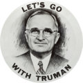 "Political:Pinback Buttons (1896-present), Harry S Truman: Dramatic 3½"" Rarity in Top Condition...."