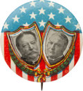 """Political:Pinback Buttons (1896-present), Taft & Sherman: A Rare and Distinctive Red, White and Blue and Green 1¼"""" 1912 Jugate...."""