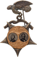 "Political:Ferrotypes / Photo Badges (pre-1896), Grant & Colfax: A Pristine Example of the Smaller ""Porthole""Ferro Jugate, Mounted on Perhaps the Nicest Brass Shell BadgeVar..."