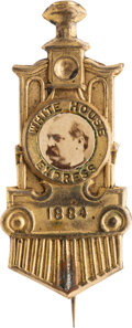 Political:Ferrotypes / Photo Badges (pre-1896), Grover Cleveland: Arguably the Best Single-Portrait Cleveland PhotoPin....