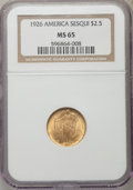 Commemorative Gold: , 1926 $2 1/2 Sesquicentennial MS65 NGC. NGC Census: (1104/107). PCGSPopulation (1935/163). Mintage: 46,019. Numismedia Wsl....