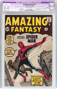 Amazing Fantasy #15 (Marvel, 1962) CGC Apparent VG/FN 5.0 Moderate (B-3) Off-white pages
