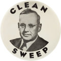 "Political:Pinback Buttons (1896-present), Alf Landon: Extremely Rare 3½"" ""Clean Sweep"" Button...."