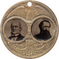 """Political:Ferrotypes / Photo Badges (pre-1896), Greeley & Brown: The Key Large-Size """"Porthole"""" Ferro Jugate,with Greeley's Image in Relief on Reverse of the Brass ShellFram..."""