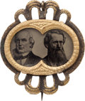Political:Ferrotypes / Photo Badges (pre-1896), Greeley & Brown: A Very Choice Ferrotype Jugate in FancyFrame....