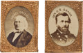 Political:Ferrotypes / Photo Badges (pre-1896), Ulysses S. Grant and Horace Greeley: Pristine Matched Pair ofGem-size Cardboard Photo Badges....