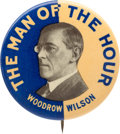 Political:Pinback Buttons (1896-present), Woodrow Wilson: One of the All-time Classic Button Designs....