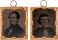 Political:Ferrotypes / Photo Badges (pre-1896), Jefferson Davis and Alexander Stephens: A Rare Matched Pair ofTintypes for the Confederate President and Vice President....