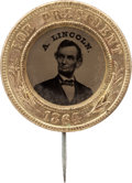 Political:Ferrotypes / Photo Badges (pre-1896), Abraham Lincoln: A Very Choice 1864-dated Ferrotype Pin....
