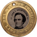 Political:Ferrotypes / Photo Badges (pre-1896), Breckinridge & Lane: A Superb Virtually Mint 1860-datedFerrotype....