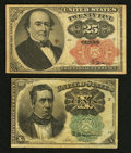 Fractional Currency:Fifth Issue, Fr. 1264 10¢ Fifth Issue Extremely Fine. Fr. 1308 25¢ Fifth IssueVery Fine.. ... (Total: 2 notes)