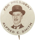 """Political:Pinback Buttons (1896-present), Al Smith: Terrific 1¼"""" Pinback Showing Him in his Trademark Brown Derby...."""