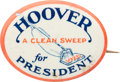 """Political:Pinback Buttons (1896-present), Herbert Hoover: The Iconic """"Clean Sweep"""" Vacuum Cleaner Button, Oneof the Signature Items in the Berman Collection...."""